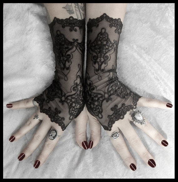 Arianna Long Lace Fingerless Gloves - Black Embroidered Damask - Gothic Vampire Wedding Fetish Dark Tribal Bellydance Burlesque Goth Bridal