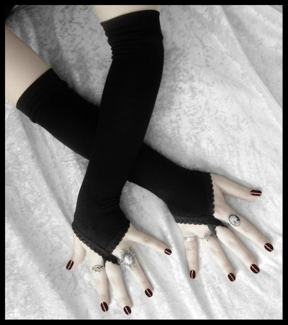 Pirouette Arm Warmers - Black - Fingerloops - Gothic Wedding Regency Belly Dance Victorian Vampire Caberet Goth Burlesque Yoga Opera Evening