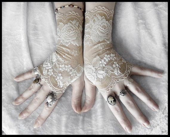 Giselle Lace Fingerless Gloves - Taupe Nude Latte - Ivory Off White Floral - Gothic Vampire Regency Tribal Bellydance Goth Austen Fetish Tea