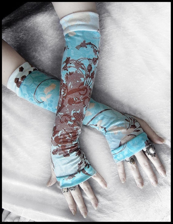 Lagoon Arm Warmers | Turquoise Teal Blue White Pale Yellow Cream Brown Floral Scroll | Gothic Tribal Steampunk Noir Mehndi Gypsy Yoga Boho