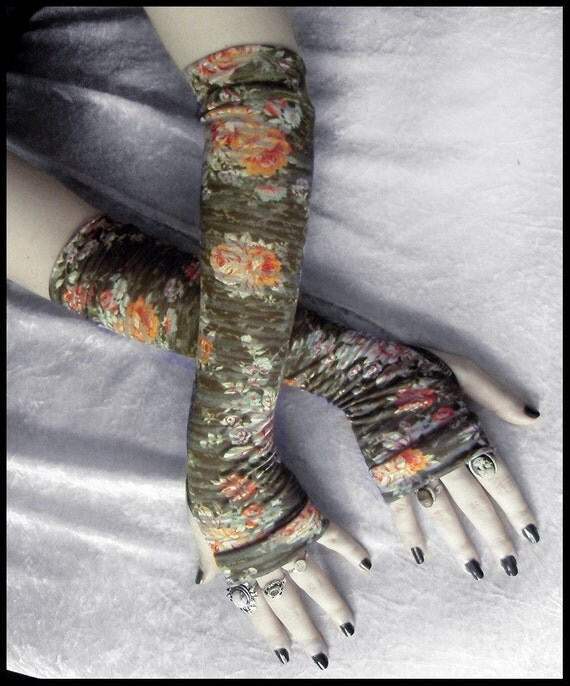 Earl Grey in the Garden Arm Warmers - Olive Green Orange Red White Brown Floral Rose  - Gothic Tribal Namaste Steampunk Noir Gypsy Yoga