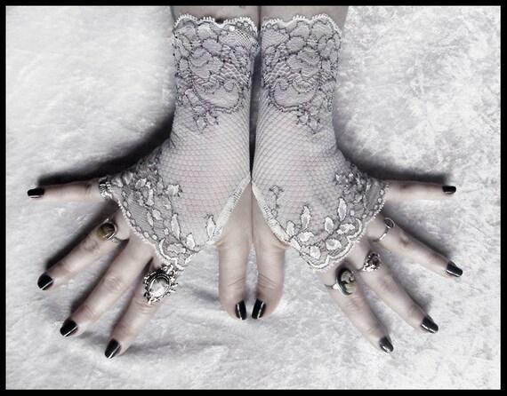 Diahann Lace Fingerless Gloves - Snow White Semi Sheer Net - Black Floral - Gothic Vampire Regency Tribal Bellydance Goth Austen Fetish Tea