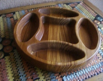 Vintage Dansk IHQ Jens Quisgaard Divided Teak Serving Platter Bowl