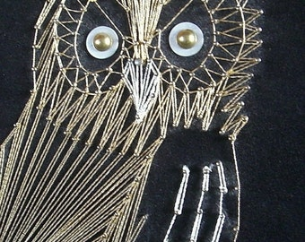 Retro Gold and Silver Owl Wire String Art