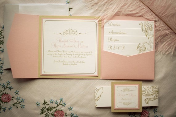 pocketfold invitations pink and gold wedding invitation floral wedding invites vintage invites