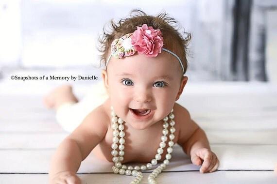 Couture Headband, Baby Headband, Rosette headband, Shabby Chic headband, Skinny Headband, Baby photo prop, newborn photography, Flower clip