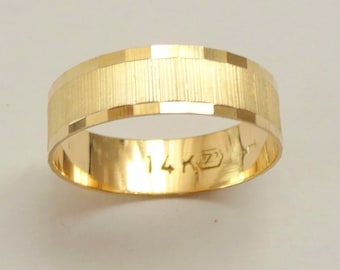 Gold  wedding band men wedding ring 6mm wide ring for women geometric design unique for him and for her