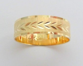 Wedding band men women 14k yellow gold wedding ring with leaves unique promise  ring 6mm wide
