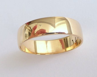 Men's wedding band shiny classic wedding ring women wedding band 14k solid gold
