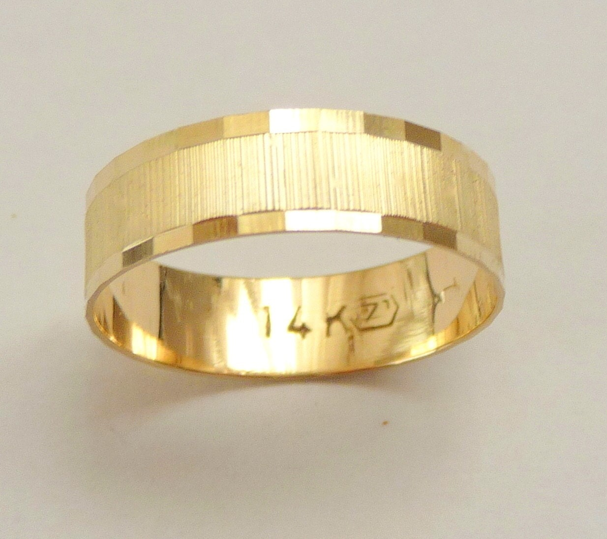Gold Wedding Band Men Wedding Ring 6mm Wide Ring For Women