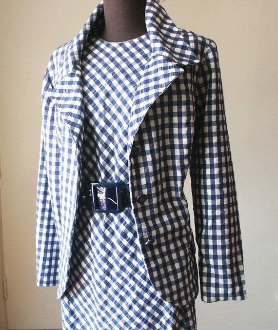 SALE Vintage 60's Sheath Dress, Wiggle Dress and Matching Blazer, Navy Blue and White Gingham Seersucker, Size Large to XL