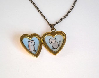 Cat Jewelry - Cat Locket Necklace - Cat Lover Gift Necklace - Golden Heart Locket Pendant with Cat Illustrations