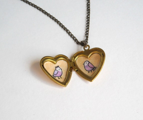 Bird Locket - Heart Locket with Purple Birds in Love - Gold Brass Locket Necklace - Wearable Art