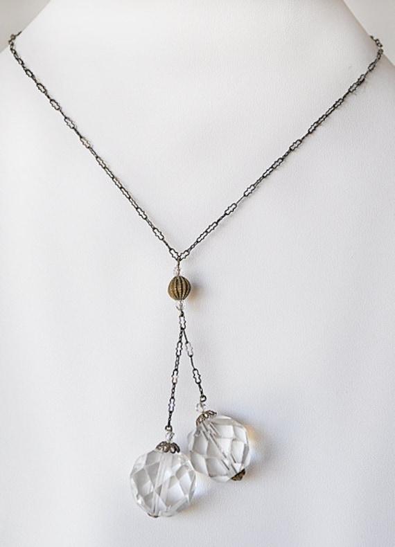 Sterling Art Deco Crystal Drop Necklace