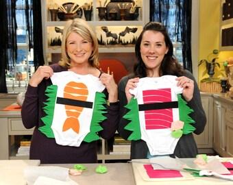 Baby Halloween Costume, Sushi Costume, Shrimp Sushi Costume, Funny costume, Baby Gift, As Seen on Martha Stewart Show