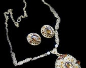Vintage 1960s Topaz Set - Pendant and Earrings