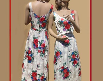 VINTAGE 1970s  -  Gold Brocade and red roses evening gown - REDUCED -