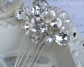 Pearl and Rhinestone Bridal Hair Comb, Rhinestone Hair Comb, Tear Drop Crystals