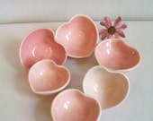 10 Heart Bowls -Wedding, Anniversary,  Shower Favors, Table Setting Decoration - Made to Order - Shades of Pink-Handmade