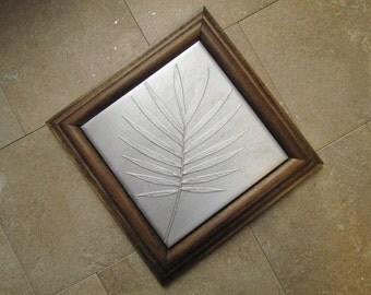 Recycled Cast Aluminum Framed Tile, Bella Palm, Walnut Wood Frame