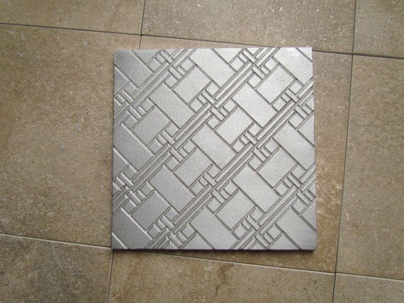 Woven Tile Design, 6 x 6 inch Abstract Tile, Recycled Cast Aluminum