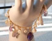 Deep Purple & Pink amethysts with fresh water pearls GF bracelet
