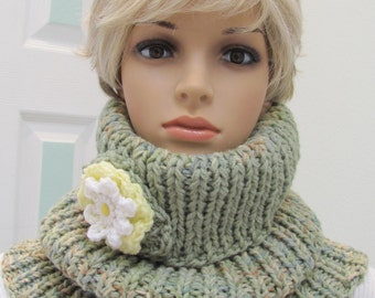 SALE ITEM, Cowl neck scarf, hand knitted in a double worsted weight, in fern green heather yarn with a crocheted flower