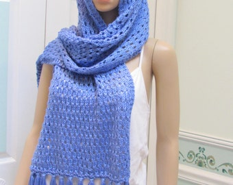 HAND KNITTED Shawl , periwinkle blue,extra long,  knitted in a light weight silky yarn,with a long fringe