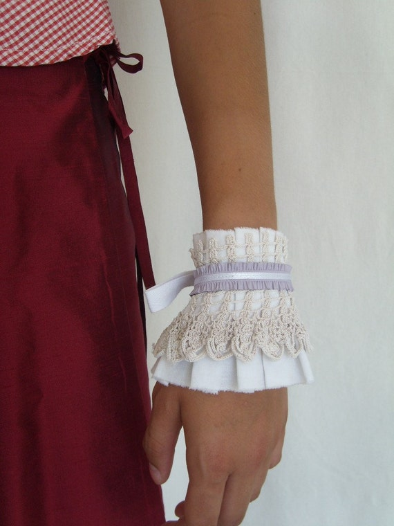 Lilac Lady Cuff - Neo-Romantic White Cotton Ruffle Cuff with Vintage Crocheted Lace andLlilac Leather trim