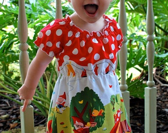 Gnome Peasant Dress featuring Michael Miller Gnomeville Size 18 Months to Size 4T