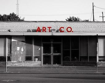 Fine Art Photography, Architecture Photo, Black and White, Modern Decor, Urban Decay, Red Black, Cityscape, Dallas Texas, 11 x 14 Art Print