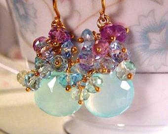 14k Gold Gemstone Cluster Earrings