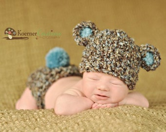 Bear Hat and Diaper Cover Set, Newborn Baby Boy Brown, Blue and Tan Bear Hat and Diaper Cover Crochet Set, Baby Girl Set, Pink, Photo Prop