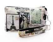 Eiffel Tower wristlet - Paris clutch - womens rustic small purse in shabby chic vintage style fabric - zipper pouch gift set