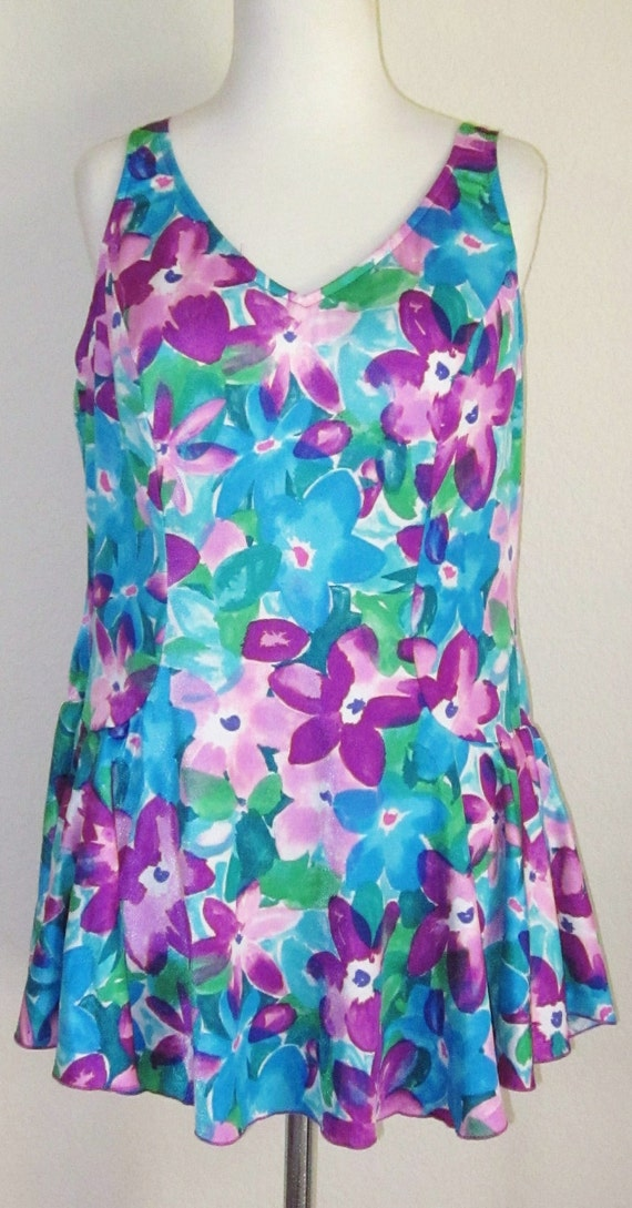 60s One Piece-Skirted Swim-Floral Bathing Suit-XL