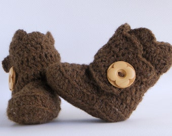Brown Crochet Shell Wrap Boots- Choose Your Size