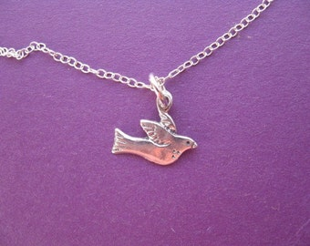 Bird Necklace Peace Dove Pendant Sterling Silver, Dainty Bird Charm, Sterlng Silver Jewelry