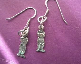 Boy Charm Earrings, Charm Jewelry, Teen Jewelry, New Mom Earrings, Mother Gift, Sterling Silver Dangle Earrings, Childrens Jewelry