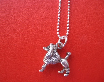 Dog Necklace, Silver Dog Charm, Silver Charm Necklace, Cute Silver Poodle Necklace, Puppy Dog Charm Sterling Silver Pendant