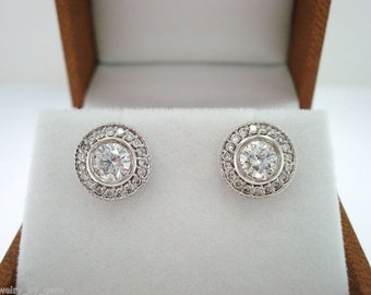 Diamond Stud Earrings 14K White Gold Halo Pave 0.82 Carat Bezel And Micro Pave Set Unique Handmade Certified