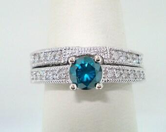 Blue Diamond Wedding Ring Set, Engagement Ring Set 14K White Gold 0.73 Carat Unique Certified Handmade