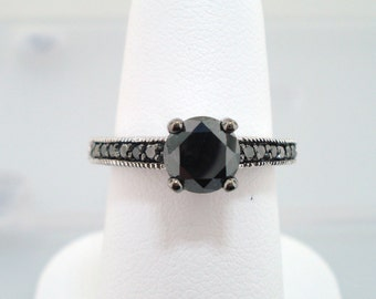 Black Diamond Engagement Ring 14K White Gold 1.20 Carat Certified Pave Set Engraved handmade