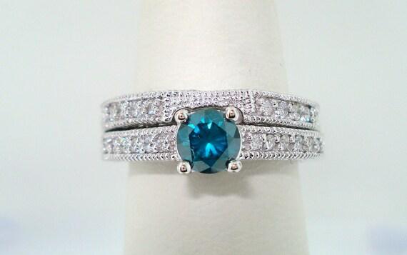 Fancy Blue Diamond Engagement Ring and Wedding Band Sets 14K White Gold 0.76 Carat Handmade
