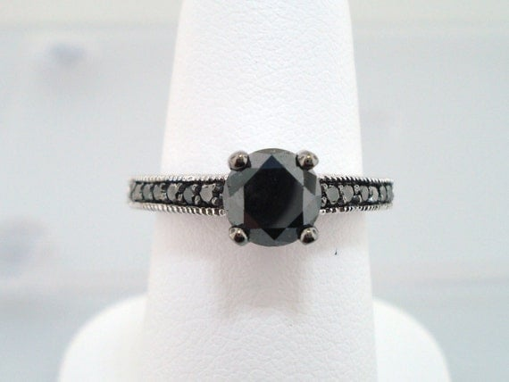 Black Diamond Engagement Ring 14K White Gold 1.20 Carat Certified Pave Set Engraved handmade