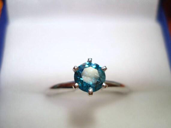 Blue Diamond Solitaire Engagement Ring 14K White Gold 0.50 Carat Certified handmade