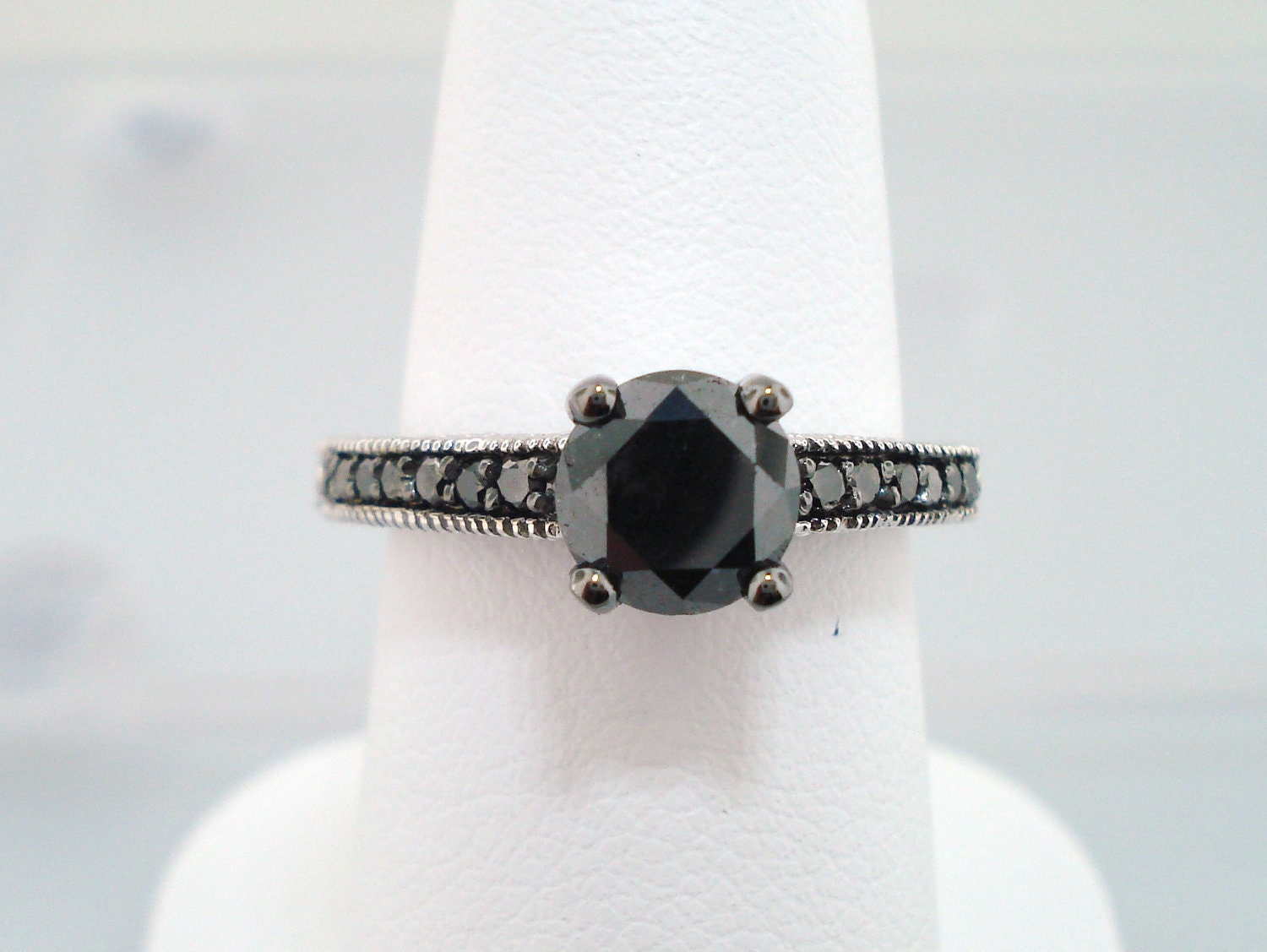 Black Diamond Engagement Ring 14K White Gold 1 20 Carat