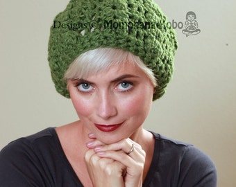 SALE - Wool Crochet Winter Beret in Green/ Size M