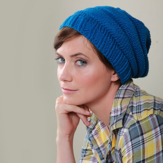 Organic Cotton Slouchy Knit Hat in Ocean Blue - One Size Fits All