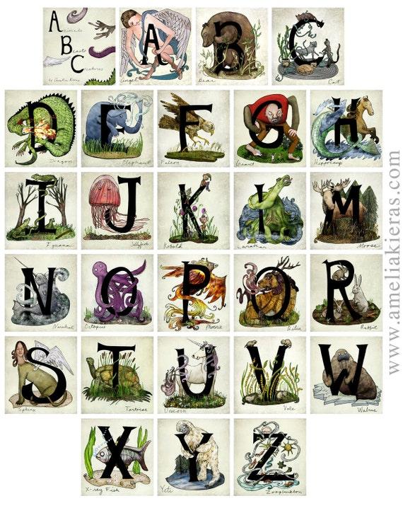 11x14 Fine Art Print- ABCs - Animals, Beasts and Creatures