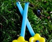 REACH the SUN - long yellow & blue stick, chunky cartoon flower statement EARRINGS
